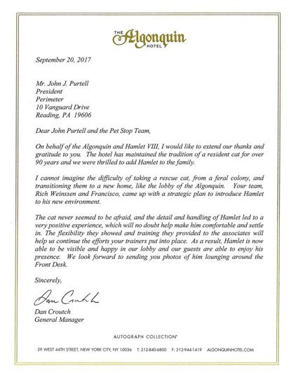 Algonquin hotel letter of recommendation